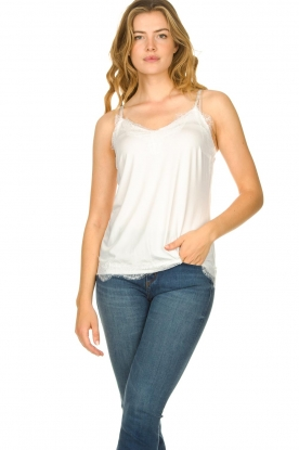 CC Heart |  Top with lace Puck | white
