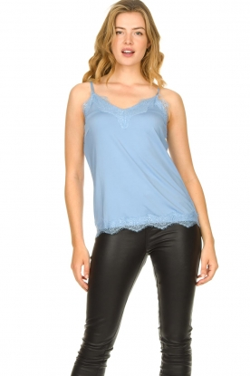 CC Heart |  Top with lace Puck | light blue