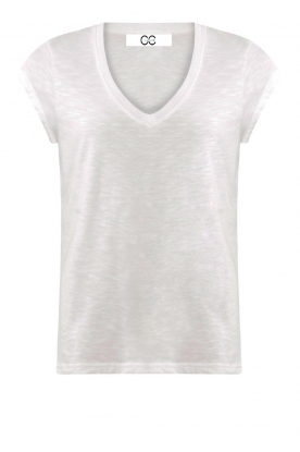 CC Heart |  Cotton mix v-neck t-shirt Vera | white