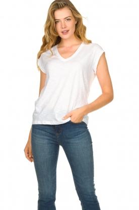CC Heart |  Cotton mix v-neck t-shirt Vera | white