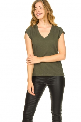 CC Heart |  Cotton mix v-neck t-shirt Vera | green