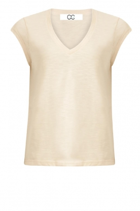 CC Heart | Cotton mix V-neck t-shirt Vera | beige