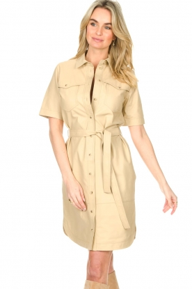 Set |  Lamb leather dress with button-up design Videl | beige