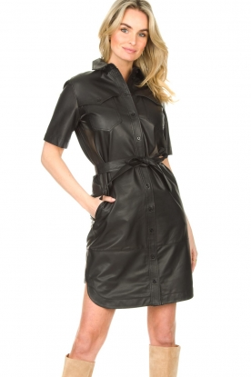Set |  Lamb leather dress with button-up design Videl | black