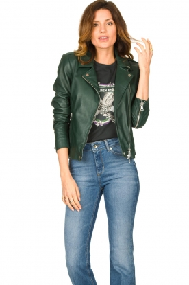 Set |  Leather biker jacket Tyler | green