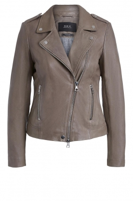 Set |  Leather biker jacket Charlie | grey
