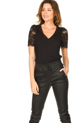 Set |  Top with lace sleeve Claire | black