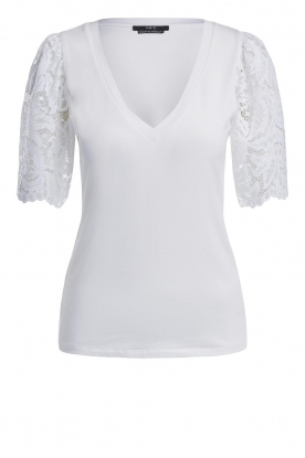 Set |  Top with lace sleeve Claire | white