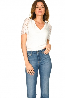 Set    Top with lace sleeve Claire   white