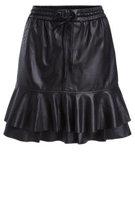 Set | Leather skirt with ruffles Fie | black