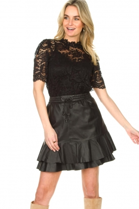 Set    Leather skirt with ruffles Fie   black