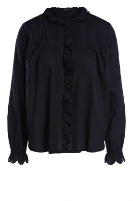 Set | Cotton blouse with ruffles Filou | black