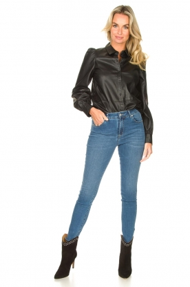 Look Leather blouse with puff sleeves Finn