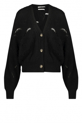 Aaiko | Open work cardigan Aria | black
