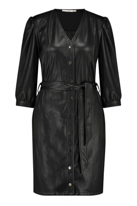 Aaiko | Faux leather button-up dress Pleun | black