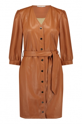 Aaiko | Faux leather button-up dress Pleun | camel