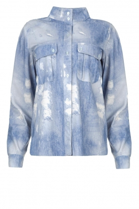 D-ETOILES CASIOPE | Printed travelwear blouse Andrax | blue