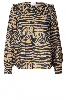 Second Female | Zebra printed blouse Zebraly | brown