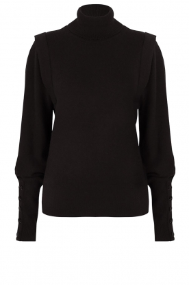 Dante 6 | Turtleneck with buttons Quentin | black