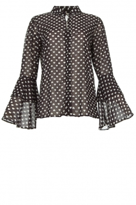Fracomina | Blouse with trumpet sleeves Flair | black & white