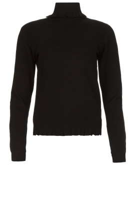 Fracomina |  Turtleneck sweater with ruffles Pull | black