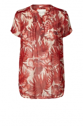 Lolly's Laundry |Lurex top met bladerenprint Heather | rood