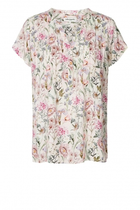 Lolly's Laundry |  Lurex top with leaves print Heather | rood
