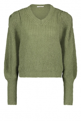 Aaiko |  Knitted sweater with puff sleeves Mascha | green
