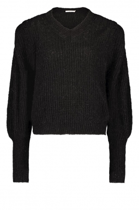 Aaiko |  Knitted sweater with puff sleeves Mascha | black