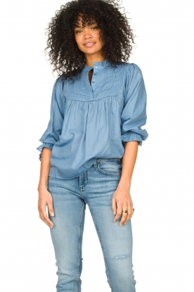 Lolly's Laundry |  Blouse with ruffles Huxi | blue