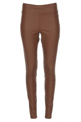 Knit-ted | Faux leather legging Amber | brown