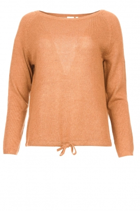 Knit-ted | Basic sweater with boat neck Poppy | brown