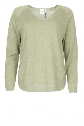 Knit-ted |  Basic sweater with lurex Dahlia | green