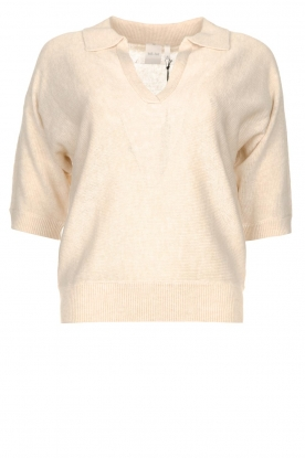 Knit-ted | Sweater with v-neck Buttercup | natural