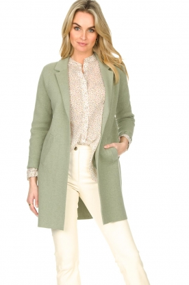 Knit-ted |  Long cotton cardigan Sammy | green