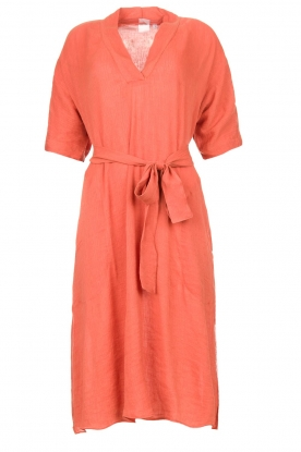 Knit-ted | roestbruin | Midi dress with matching waistbelt Aileen | rusty