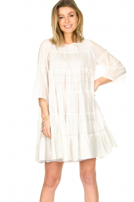 Devotion    Cotton dress with ruffles   white