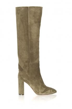 Toral |  Suede knee boots Sofia | khaki