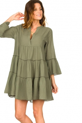 Devotion |  Cotton dress with ruffles Rosaline | green