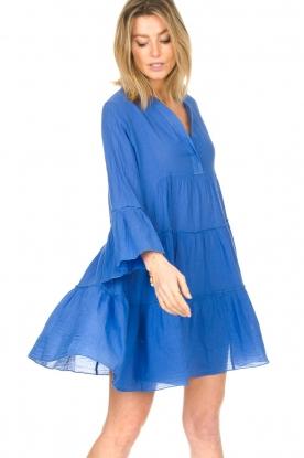 Devotion |  Cotton dress with ruffles Rosaline | blue