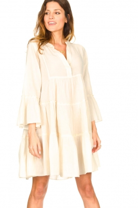Devotion | Katoenen jurk met ruches Hague | naturel: Cotton dress with ruff