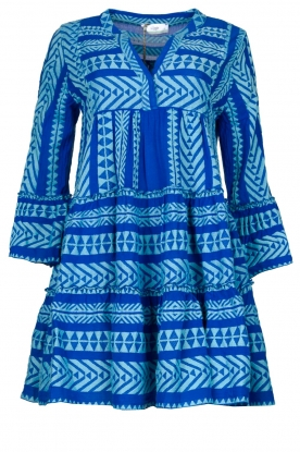 Devotion | Cotton dress with print Ella | blue