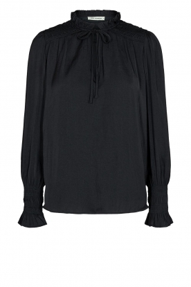 Sofie Schnoor |  Smocked blouse with ruffles Alina | black