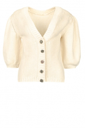 ba&sh |  Knitted cardigan with statement buttons sleeves Castille | natu