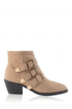 Sofie Schnoor |  Suede buckle boots with studs Live | beige