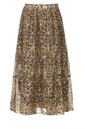 ba&sh    Lurex midi skirt with print Gellio   green