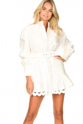 Silvian Heach |  Cotton dress with waist belt Kiuwa | white