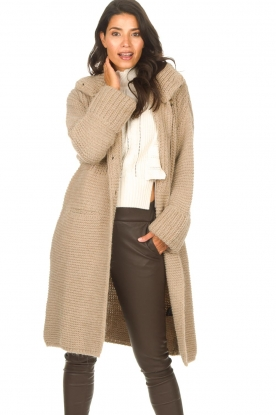 Set |  Long knitted cardigan Bloom | taupe