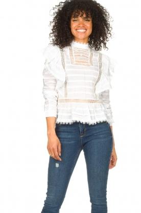 Silvian Heach |  Cotton broderie blouse Loria | white
