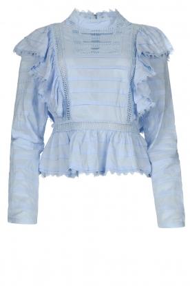 Silvian Heach |  Cotton broderie blouse Loria | blue